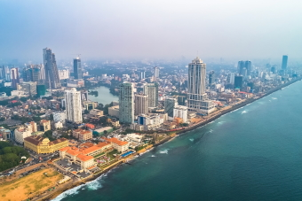 View over Colombo city and coastline
